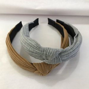 Two top knot headbands grey and tan